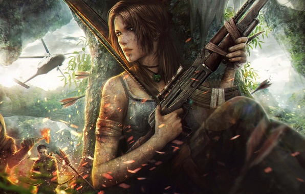 Picture tropics, island, chase, bow, fantasy, art, machine, artist, helicopter, the bandits, Tomb Raider, arrows, fight, …