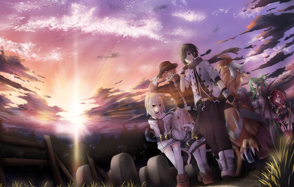 Picture sunset, being, fantasy, art, cemetery, ears, neko, travelers, tyaba neko