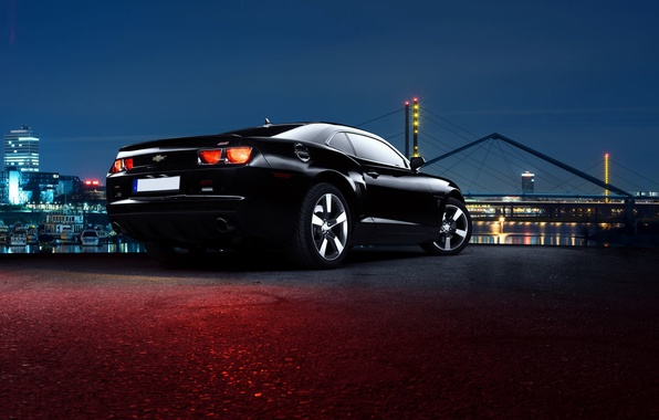 Picture Chevrolet, Muscle, City, Camaro, Car, Black, Rear, Nigth, Scape