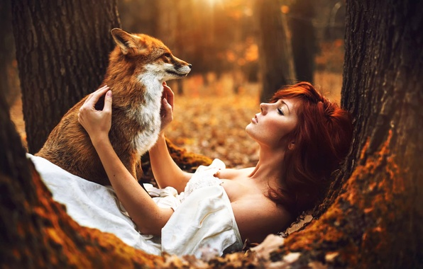 Picture autumn, forest, girl, Fox, Katka Kona, Marketa Novak, soul sister