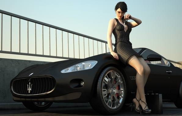 Picture machine, girl, Maserati, stockings, dress, keys, case