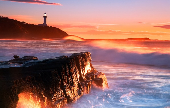 Picture sea, wave, sunset, stones, rocks, lighthouse