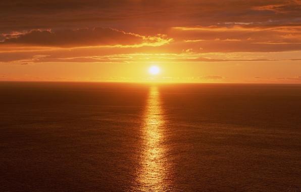 Picture Sunset, The sun, The sky, Clouds, Sea, Light, Rays, Blik, Track