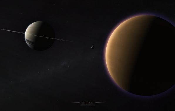 Picture ring, solar system, the milky way, satellites, Saturn, Titan, gas giant