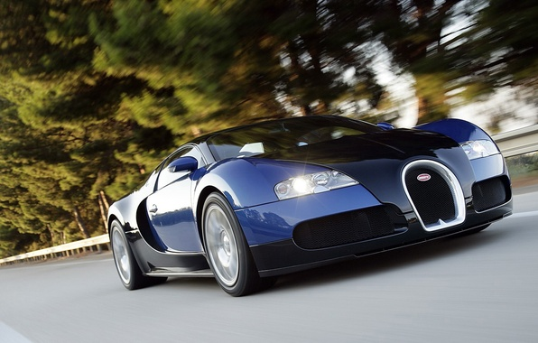 Photo wallpaper speed, highway, veyron, supercar, bugatti, black and blue