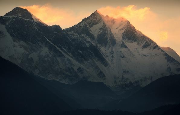 Picture snow, mountains, the wind, Chomolungma, Everest, The Himalayas, Everest, Lhotse, Lhotse
