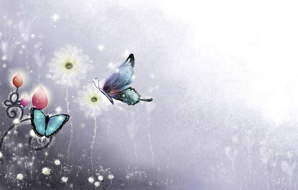 Picture line, butterfly, flowers, figure, curls, sparks