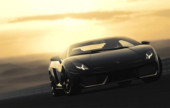 Picture Lamborghini, black, Gallardo, black, Lamborghini, Gallardo, Gran Turismo, GT5, Gran Turismo, LP560-4, PlayStation, Desert Sunset