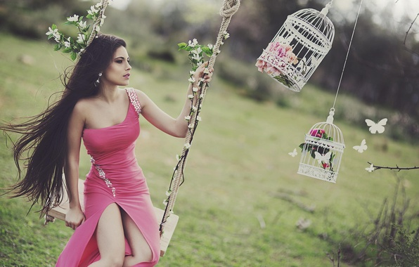 Picture pose, swing, body, Girl, dress, brunette, legs