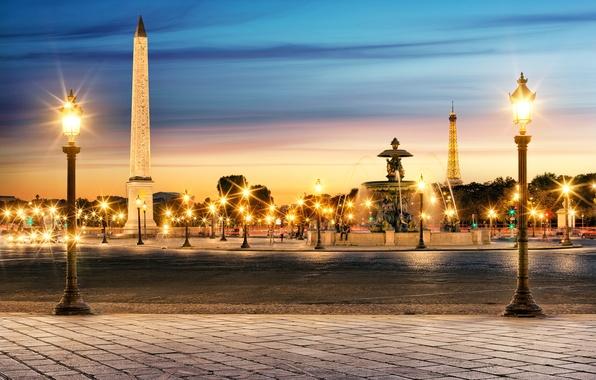 Picture the city, people, France, Paris, the evening, lighting, lights, fountain, Eiffel tower, Paris, France, La …