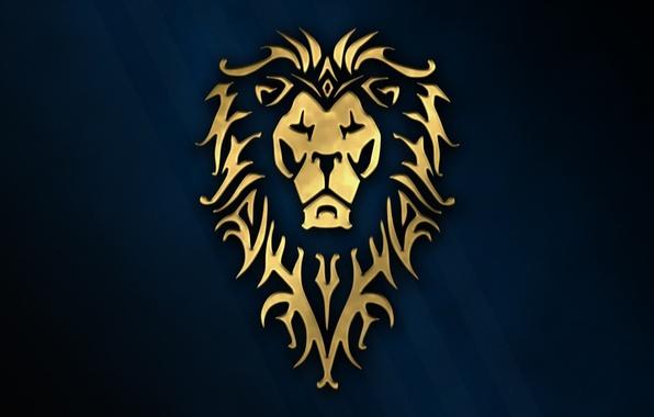 Picture cinema, golden, logo, game, Warcraft, blue, wow, lion, symbol, rpg, movie, animal, World of WarCraft, …