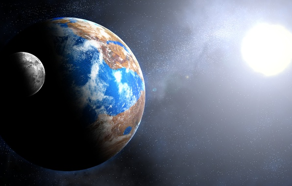 Picture light, Star, blue, planet, Sci FI