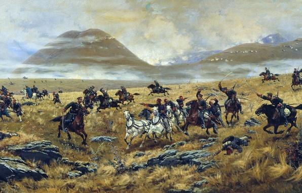 Picture war, artist, soldiers, battle, the Turks, Russian, Kivshenko, Cossacks, the Russo-Turkish war