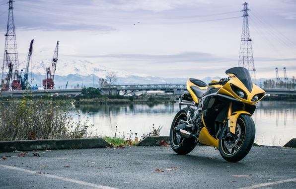Picture river, yellow, port, motorcycle, yamaha, bike, yellow, Yamaha, yzf-r1, cranes