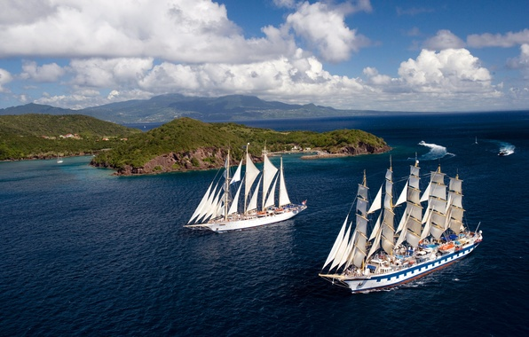 Picture Water, Sea, Blue, Ship, Islands, Sailboat, Day, Sails, Calm, Two, On the go