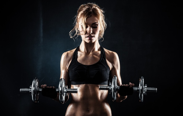 Picture sexy, blonde, pose, fitness, dumbbell