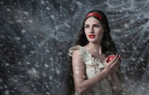 Picture snow, Apple, Snow white, fairy tale