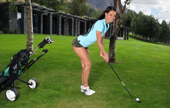 Picture field, grass, girl, trees, smile, feet, shorts, the ball, brunette, shirt, legs, stick, Golf, melissa, …