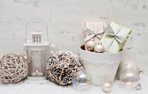 Picture snow, decoration, balls, New Year, Christmas, gifts, Christmas, balls, New Year, decoration
