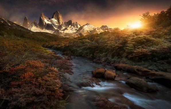 Photo wallpaper mountains, river, morning