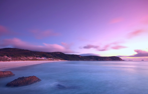 Picture sea, beach, the sky, water, clouds, surface, the ocean, lilac, shore, The evening, the evening