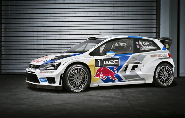 Picture Auto, White, Volkswagen, Garage, Red Bull, WRC, Rally, Volkswagen, Side view, Polo