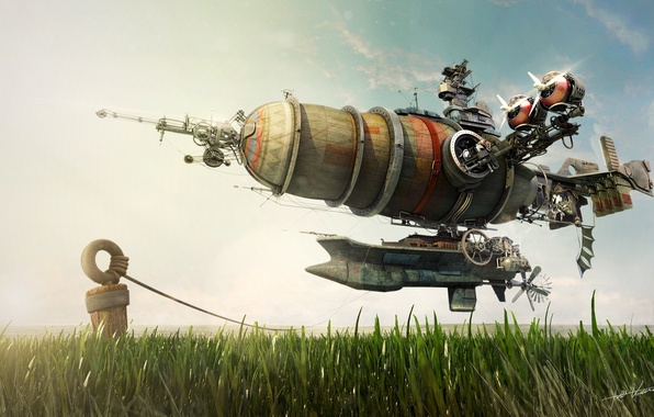 Picture aviation, fantasy, fiction, the airship, render, journey awaits