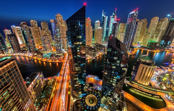 Picture night, the city, lights, building, road, Marina, home, skyscrapers, the evening, lighting, backlight, Bay, Dubai, …