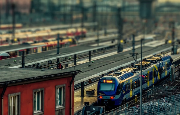 Picture train, Germany, tilt shift, Munchen, Railway station