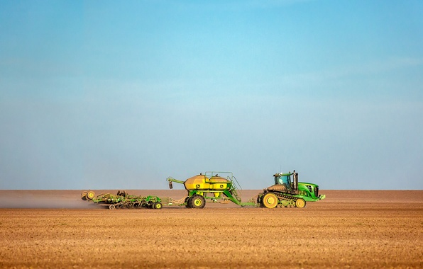 Picture the sky, field, dust, harvest, tractor, farm