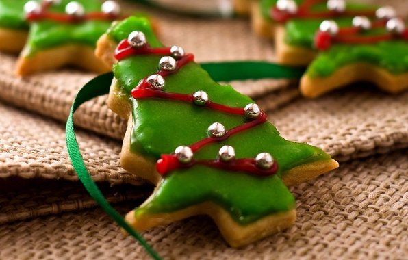 Picture holiday, food, cookies, Christmas, New year, Happy New Year, Merry Christmas, holiday, ribbon, cookie, biscuits