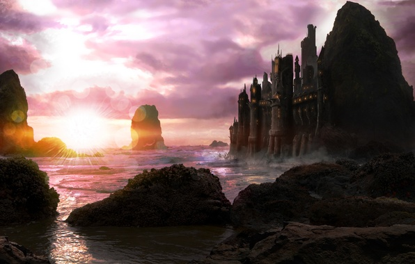 Picture sea, sunset, clouds, stones, castle, rocks, art