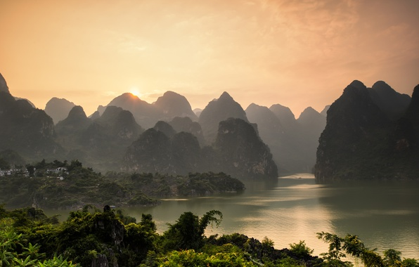 Picture sea, forest, the sky, the sun, mountains, China, river, sunset, mountains, landscapes, Wu Zhou, xingyi, …