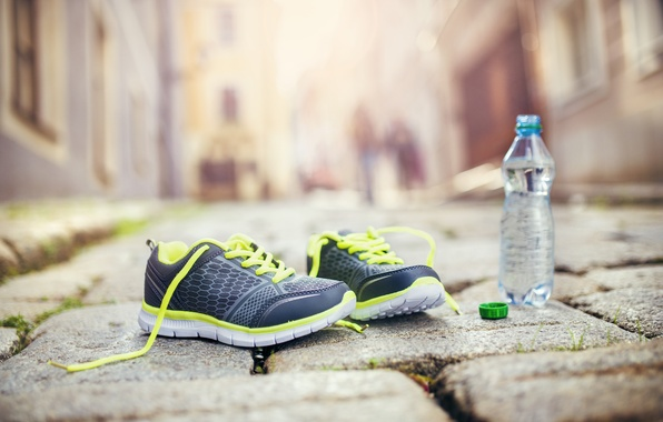 Photo Wallpaper Fitness Running Shoes Healthy Lifestyle Mineral Water