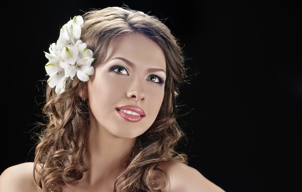 Picture look, girl, flowers, smile, brown hair, gray-eyed