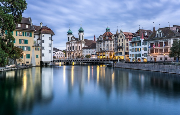 Picture bridge, river, building, home, Switzerland, Church, promenade, Switzerland, Lucerne, Lucerne, Reuss River, the river Reuss
