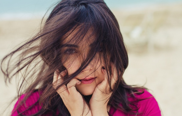 Picture girl, the wind, hair, brunette