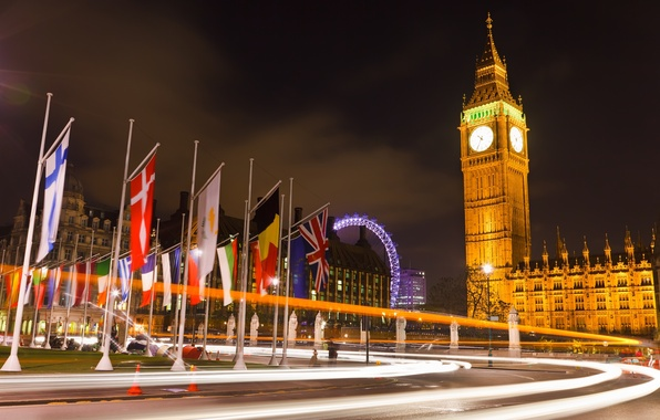 Picture road, light, night, lights, England, London, UK, Big Ben, flags, London, England, Big Ben