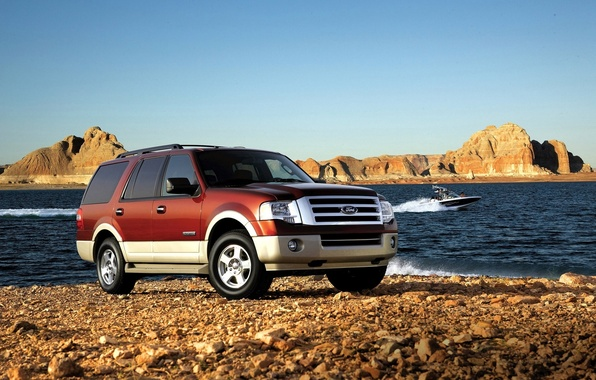 Picture sea, Ford, Machine, boat, SUV, journey, nature., Expedition