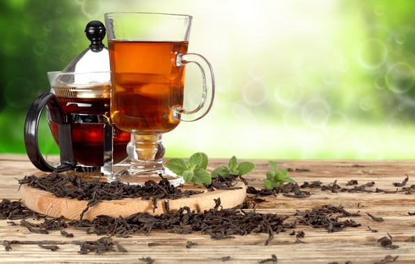 Picture tea, kettle, mug, drink, mint, bokeh