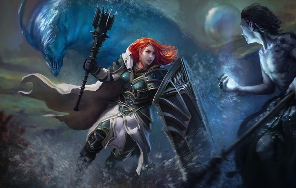 Picture water, girl, spirit, art, red, battle, shield, Mace, paladin, armor