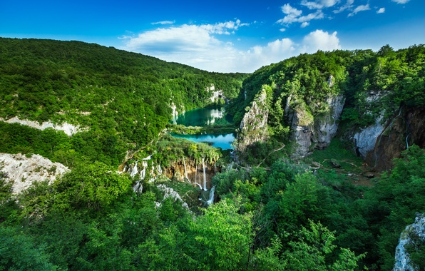 Picture forest, landscape, rocks, panorama, waterfalls, cascade, Croatia, Croatia, National Park, Plitvice lakes, Plitvice Lakes National …