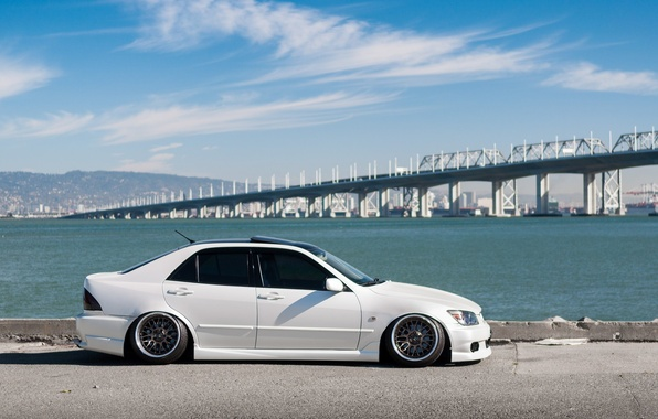Picture sea, bridge, view, turbo, lexus, white, japan, toyota, jdm, tuning, low, height, is200, stance