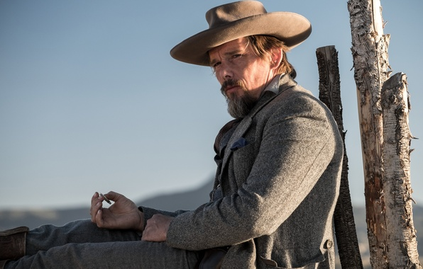 Picture the sun, frame, hat, cigarette, cowboy, beard, coat, Western, Ethan Hawke, Ethan Hawke, The Magnificent …
