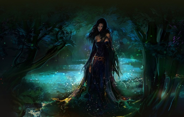 Picture forest, water, girl, drops, fantasy, art