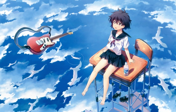 Picture water, girl, guitar, anime, art, form, schoolgirl, Parta, earn it you