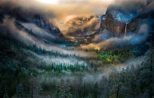 Picture winter, forest, mountains, fog, dawn, waterfall, valley, California, Yosemite National Park, Bridalveil Falls, Tunnel View