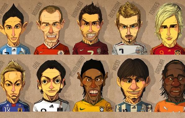 Picture face, Honda, Ronaldo, Messi, Robben, Torres, cartoons, Beckham, Ozil, Drogba, Ronaldinho, di Maria