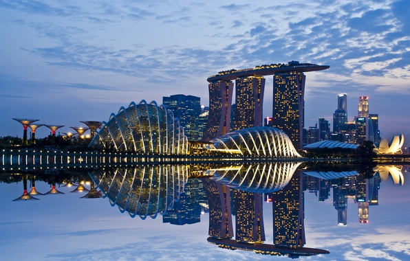 Picture the sky, clouds, lights, lights, reflection, skyscrapers, the evening, backlight, Bay, Singapore, architecture, megapolis, sky, …