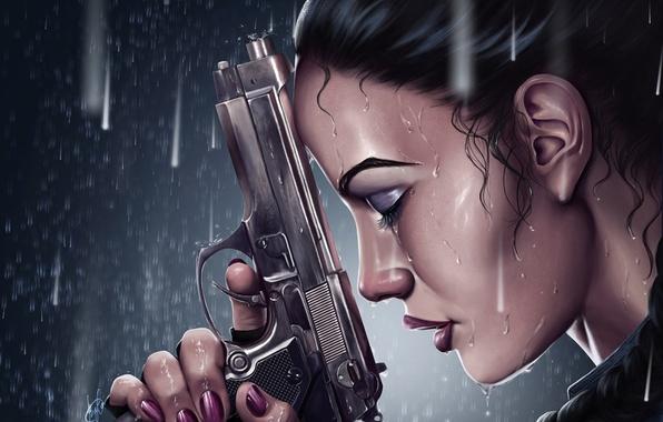 Picture girl, gun, rain, lara croft, tomb raider